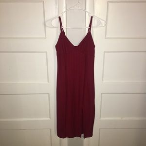 Red form fitting dress